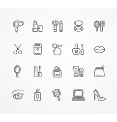 beauty outline icon set vector image