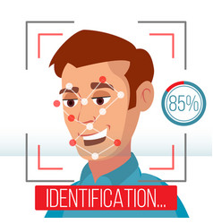 biometric facial identification mobile app vector image vector image
