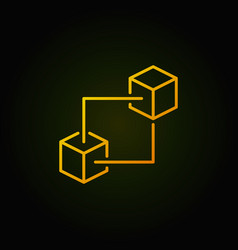 Blockchain technology yellow line icon or vector