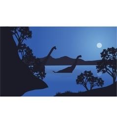 Brachiosaurus in water scenery silhouette vector image vector image