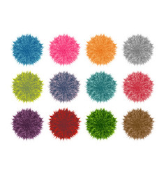 colorful fluffy pompom set isolated on white vector image vector image