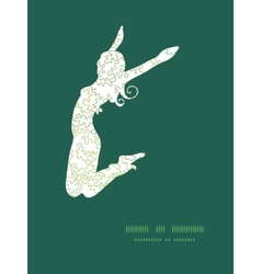 curly doodle shapes jumping girl silhouette vector image