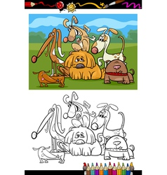 cute dogs cartoon coloring book vector image vector image