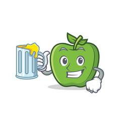 Green apple character cartoon with juice vector