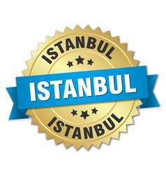 Istanbul round golden badge with blue ribbon vector