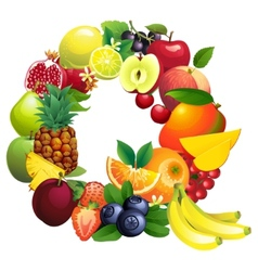 Letter Q composed of different fruits with leaves vector image vector image