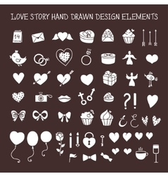 Love story hand drawn design elements doodle set vector