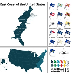 Map of East Coast of the United States vector image