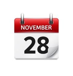 November 28 flat daily calendar icon vector