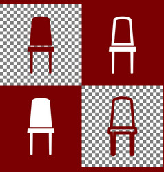 Office chair sign bordo and white icons vector