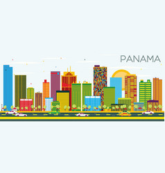 Panama skyline with color buildings and blue sky vector