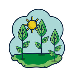 Plants with leaves in the sunny weather vector