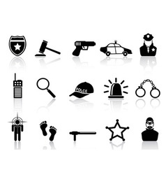 police icons set vector image vector image