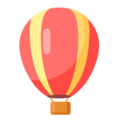 Red-yellow airballoon icon isolated on white vector