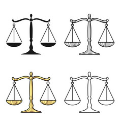 Scales of justice icon in cartoon style isolated vector