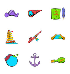 Sea travel icons set cartoon style vector