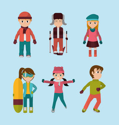 Sel child with winter clothes to cold weather vector