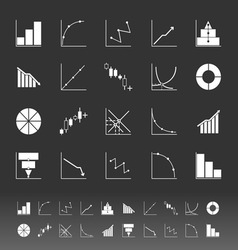 Set of diagram and graph icons on gray background vector image