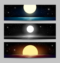 the night seascapes set vector image vector image