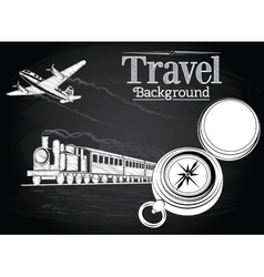 Travel by transport on the chalkboard background vector
