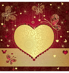 Vintage gold-red valentine frame vector