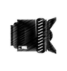 hand drawing lens photo camera icon vector image