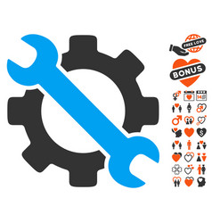 Service tools icon with lovely bonus vector