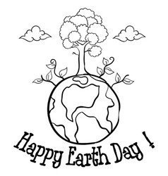 happy earth day with tree hand draw vector image