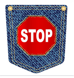 stop denim pocket vector image