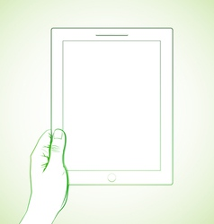 Hand Holding Tablet 2 vector image