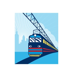 Electric passenger train city skyline vector