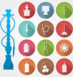 Colored icons for hookah and accessories vector