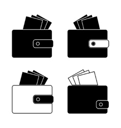 Icon - wallet with bills money design in the flat vector