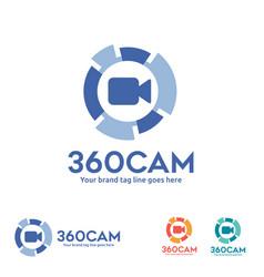 360 degree view camera logo vector image vector image