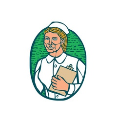 Nurse holding clipboard oval woodcut linocut vector