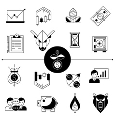 Investments and stock line icons set vector
