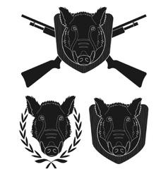 Hunting trophy boar set vector