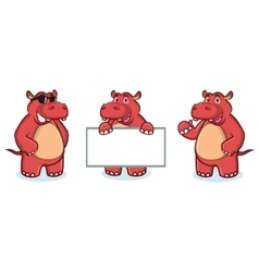 Red hippo mascot happy vector