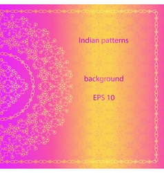 Ornate background in indian style floral elements vector