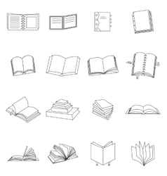 Book thin icons set vector