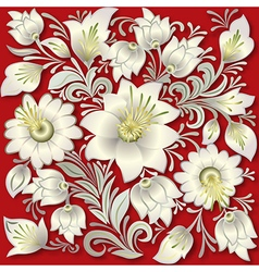 Abstract silver floral ornament on red background vector