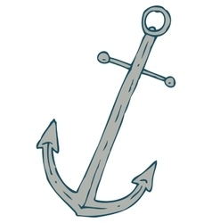 Steel ship anchor and red lifebuoy vector