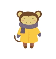 Girl monkey in yellow warm coat childish vector