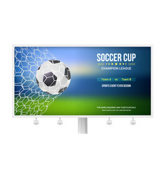 Billboard with soccer match game moment with goal vector