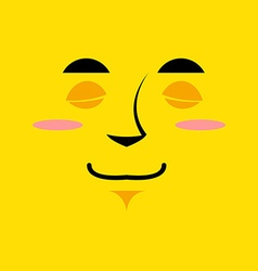 Cartoon cute face an yellow background Gaiety vector image