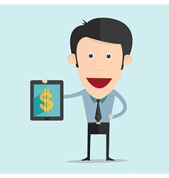 cartoon with tablet and money flat design vector image vector image
