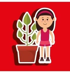 Character pot plant vector