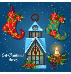 Christmas ornament boots and house candle holder vector