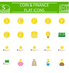 coins flat pictograms package finance signs vector image vector image