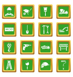 construction icons set green vector image